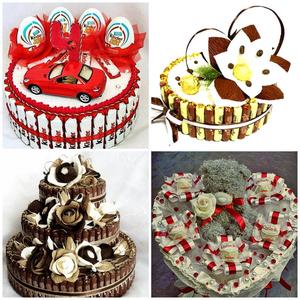 Торт из сладостей,  вкусный подарок для любого человека