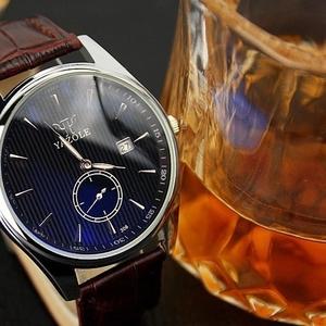 Кварцевые часы из натуральной кожи relogio masculino